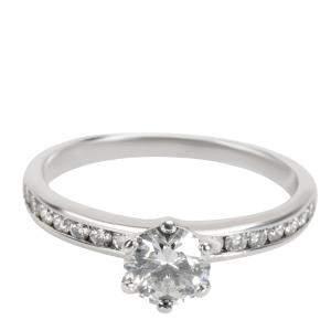 Tiffany & Co. Channel Diamond Engagement Platinum Ring Size EU 54.5
