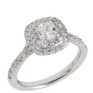 Tiffany & Co. Soleste Diamond Platinum Engagement Ring Size EU 44