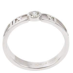 Tiffany & Co. Atlas 18K White Gold Diamond Ring Size EU 54.5