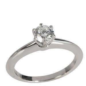 Tiffany & Co. Diamond Platinum Engagement Ring Size EU 49