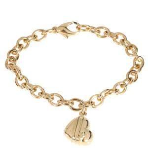 Tiffany & Co. Cupid Heart Charm 18K Yellow Gold Bracelet 19