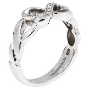 Tiffany & Co. Paloma Picasso Double Loving Heart Diamond 18K White Gold Ring 56