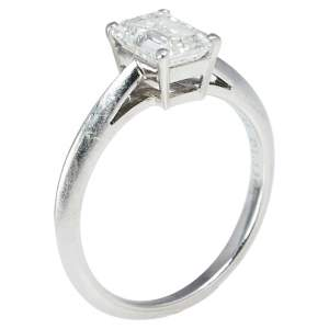 Tiffany & Co. 1.13 ct Emerald Cut Solitaire Diamond Platinum Engagement Ring 50