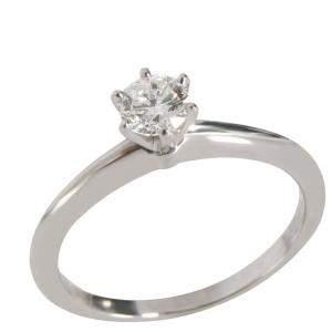 Tiffany & Co. Solitaire Platinum Diamond Ring EU 50