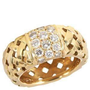 Tiffany & Co. Vannieres 18K Yellow Gold Diamond Ring EU 50