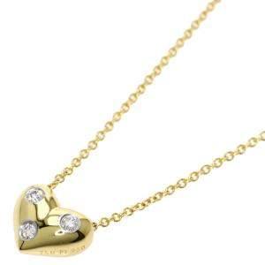 Tiffany & Co. Dots Heart 18K Yellow Gold Platinum Diamond Necklace