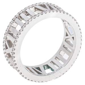 Tiffany Atlas Diamond 18K White Gold Ring Size 53