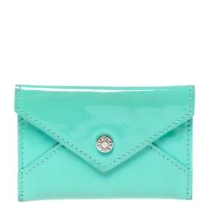 Tiffany & Co Light Green Patent Leather Business Card Holder