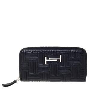Tod's Black Leather Zip Around Continental Wallet