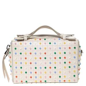 Tod's Cream Leather Multicolored Studs Gommino Bag