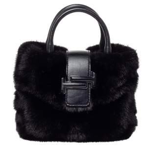 Tod's Black Mink Fur and Leather Double T Flap Tote