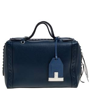 Tod's Blue Leather Medium Don Bauletto Gommino Bag