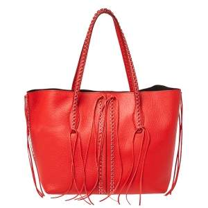 Tod's Red Leather ANJ Rings Shopper Tote