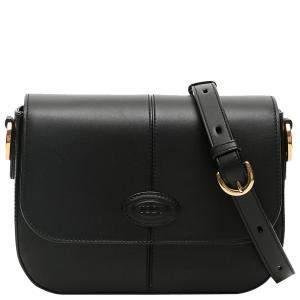 TOD'S Black Leather Mini Crossbody Bag