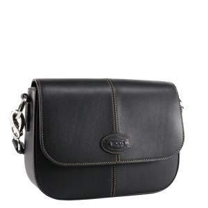 TOD'S Black Leather Pattina Crossbody Bag