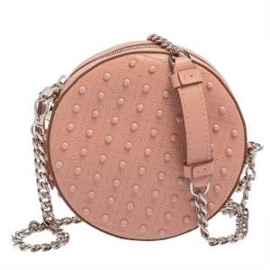 Tod's Pink Leather Round Gommini Crossbody Bag