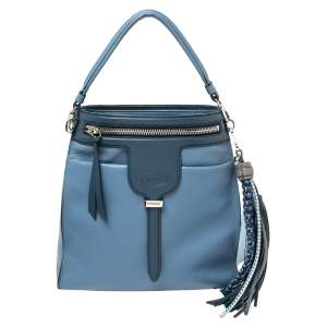 Tod's Blue Leather Thea Bucket Bag