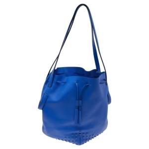 Tod's Blue Leather Drawstring Bucket Bag