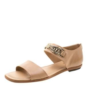 Tod's Beige Leather Chain Link Strap Flat Sandals Size 39.5
