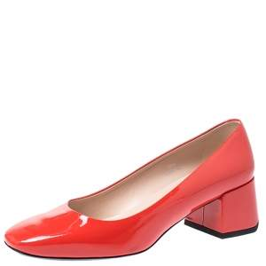 Tod's Orange Patent Leather Block Heel Pumps Size 38.5