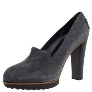 Tod's Grey Suede Leather Block Heel Pumps Size 40