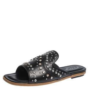 Tod's Black Studded Leather Open Toe Flat Slides Size 37.5