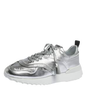 Tod's Metallic Sliver Perforated Leather Low Top Sneakers Size 39.5