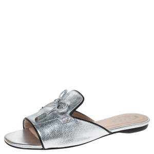 Tod's Metallic Leather Open Toe Flat Slides Size 36
