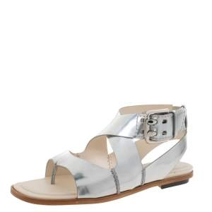 Tod's Metallic Silver Leather Ankle Strap Flat Sandals Size 36