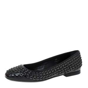 Tod's Black Leather Stitch Detail And Embellished Ballet Flats Size 37