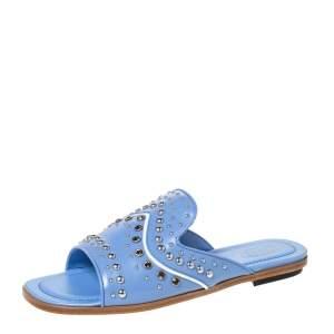 Tod's Blue Leather Studded Flat Slides Size 37.5