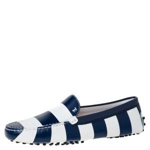Tod's Blue/White Striped Leather Slip On Loafers Size 40