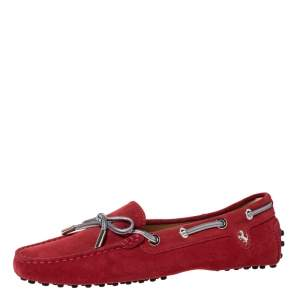 Tod's For Ferrari Red Suede Leather Bow Slip On Loafers Size 36