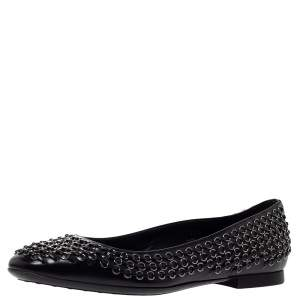 Tod's Black Leather Stitch Detail And Embellished Ballet Flats Size 37.5
