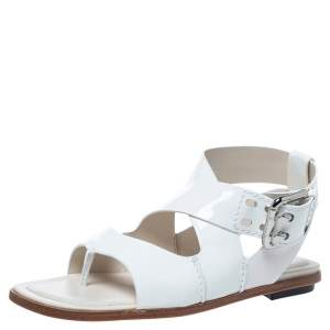 Tod's White Patent Leather Cross Strap Flat Sandals Size 36.5