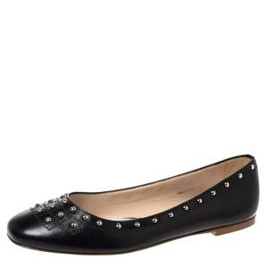 Tod's Black Leather Studded Ballet Flats Size 40