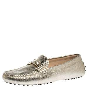 Tod's Metallic Gold Leather Double T Slip On Loafers Size 39