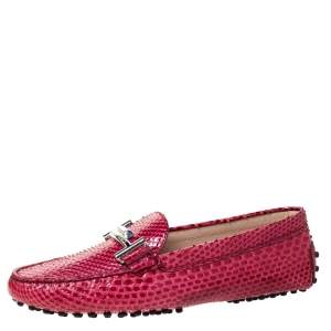Tod's Dark Pink Python Double T Slip On Loafers Size 37