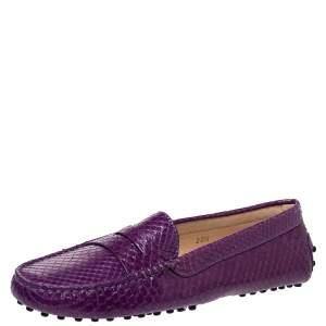 Tod's Purple Python Penny Loafers Size 38.5