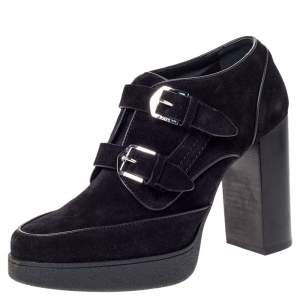 Tod's Black Suede Double Buckle Platform Ankle Boots Size 39