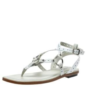 Tod's White Patent Leather Strappy Flat Sandals Size 37