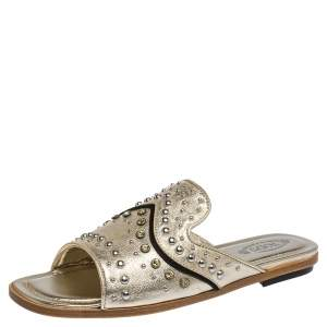 Tod's Gold Leather Studded Flat Slides Size 37