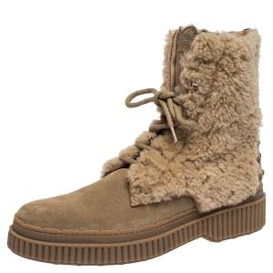 Tod's Beige Suede Leather And Shearling Fur Ankle Boots Size 38.5