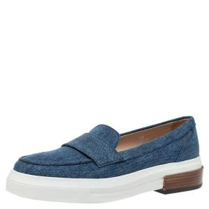 Tod's Blue Denim Fabric Slip On Sneakers Size 39