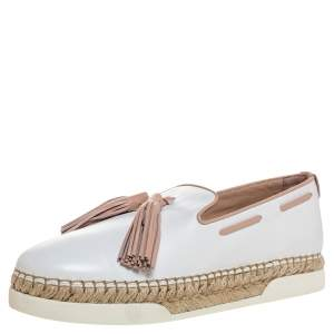 Tod's White Leather Tassel Detail Espadrille Loafers Size 40.5