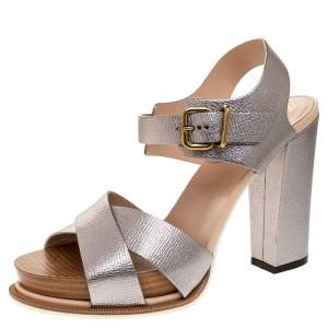 Tod's Silver Textured Leather Platform Ankle Strap Sandals Size 37