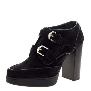 Tod's Black Suede Leather Buckle Block Heel Ankle Booties Size 38.5