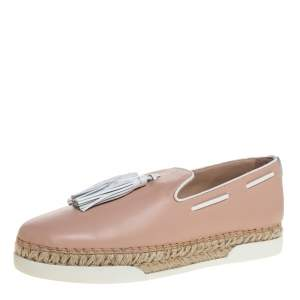 Tod's Pink Leather Tassel Espadrille Loafers Size 40.5