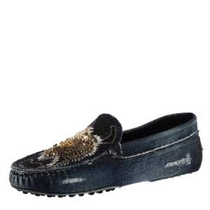 Tod's Blue Denim Fabric Sequin Embellished Slip On Loafers Size 38.5