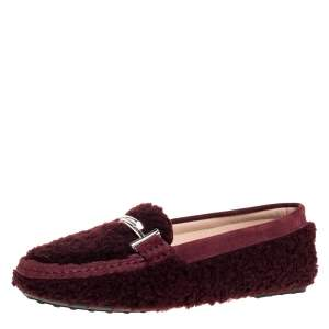 Tod's Burgundy Shearling And Suede Leather Double T Slip On Loafers Size 39